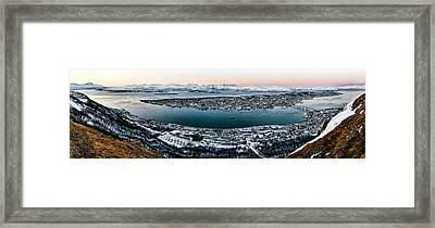 Tromso From The Mountains Framed Print by Dave Bowman