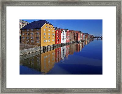 Trondheim At Morning Framed Print by Reinhard Pantke
