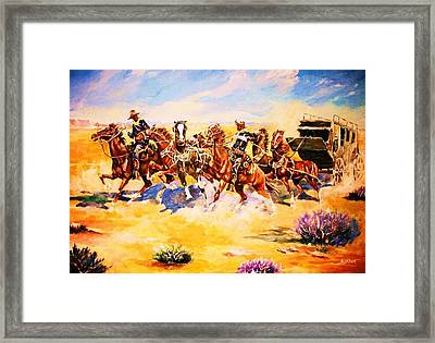 Troopers Stopping A Runaway Coach Framed Print