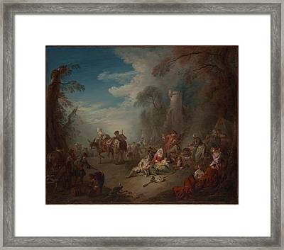 Troops At Rest Framed Print by Jean-Baptiste Joseph Pater