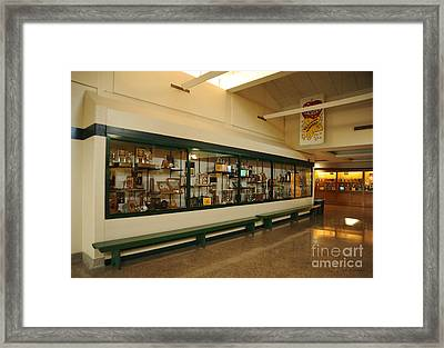 Trophy Case At Clare High School Framed Print by Terri Gostola