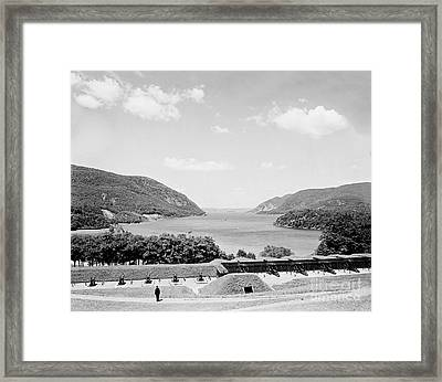 Trophy Point North Fro West Point In Black And White Framed Print