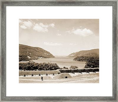 Trophy Point North Fro West Point In Sepia Tone Framed Print