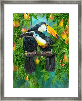 Tropic Spirits - Toucans Framed Print by Carol Cavalaris