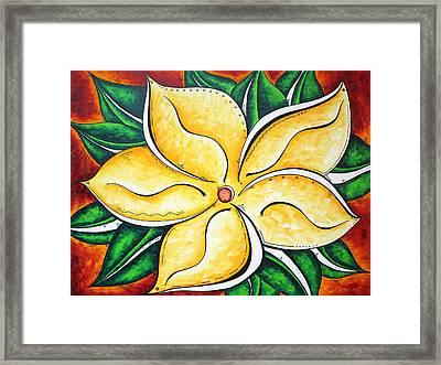 Tropical Abstract Pop Art Original Plumeria Flower Painting Pop Art Tropical Passion By Madart Framed Print by Megan Duncanson