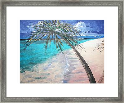 Framed Print featuring the painting Tropical Beach by Judy Via-Wolff