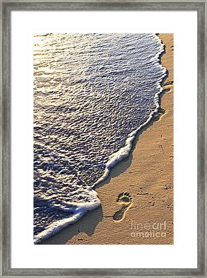 Tropical Beach With Footprints Framed Print