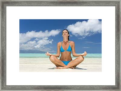 Tropical Beach Yoga Framed Print
