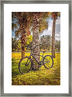 Tropical Bicycle Framed Print by Debra and Dave Vanderlaan
