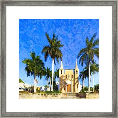 Tropical Church In The Barrio Of Santa Ana Framed Print
