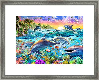 Tropical Dolphins Framed Print by Adrian Chesterman