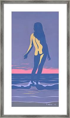 Tropical Exotic Nude Surf Sunset Tasteful Original Pop Art Nouveau 80s Painting Purple Pink Framed Print by Walt Curlee