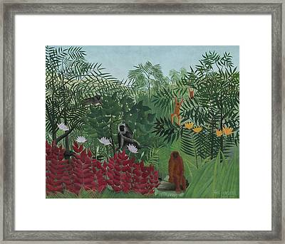 Tropical Forest With Monkeys Framed Print by Henri J F Rousseau