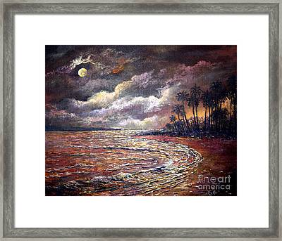 Framed Print featuring the painting Tropical Moon by Lou Ann Bagnall