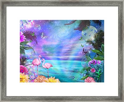 Tropical Moonlight Flamingos Framed Print by Alixandra Mullins