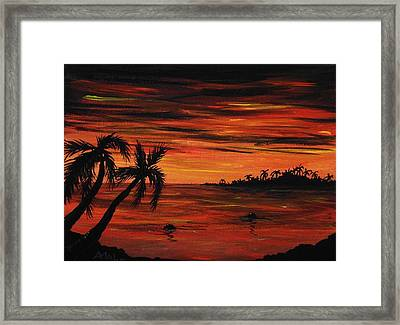 Tropical Night Framed Print by Anastasiya Malakhova