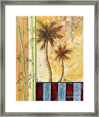 Tropical Palm Tree Coastal Decorative Art Original Painting Tropical Breeeze I By Madart Studios Framed Print by Megan Duncanson