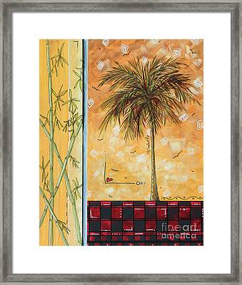 Tropical Palm Tree Coastal Decorative Art Original Painting Tropical Breeeze II By Madart Studios Framed Print by Megan Duncanson