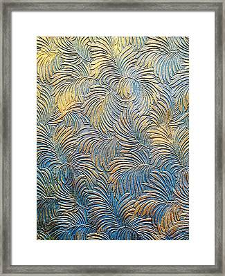 Tropical Palms - Blue Green And Metallic Gold Framed Print by Artistic Mystic