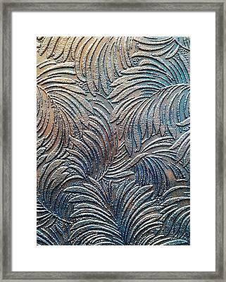 Tropical Palms - Dark Teal Blue And Metallic Bronze Framed Print by Artistic Mystic