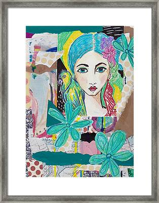 Tropical Parrot Girl Framed Print