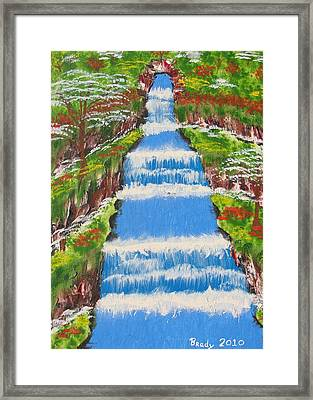 Tropical Rain Forest Water Fall Framed Print
