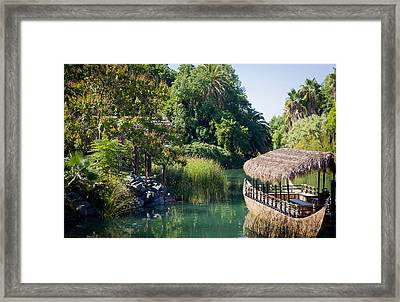 Tropical Scenery With A Boat Framed Print