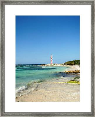 Tropical Seascape With Lighthouse Framed Print