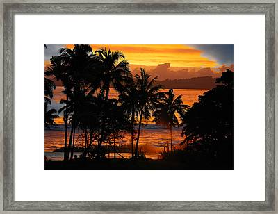 Framed Print featuring the photograph Tropical Sunset In Blues by Jocelyn Friis