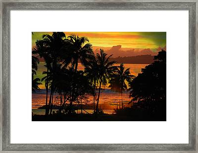 Framed Print featuring the photograph Tropical Sunset In Greens by Jocelyn Friis