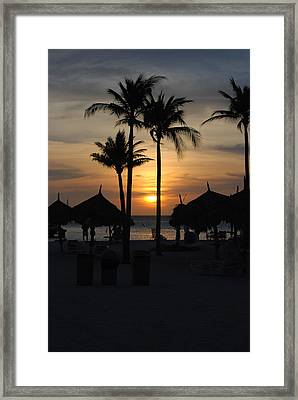Tropical Sunset Framed Print by Linda  Barone