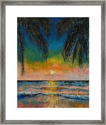 Tropical Sunset Framed Print by Michael Creese