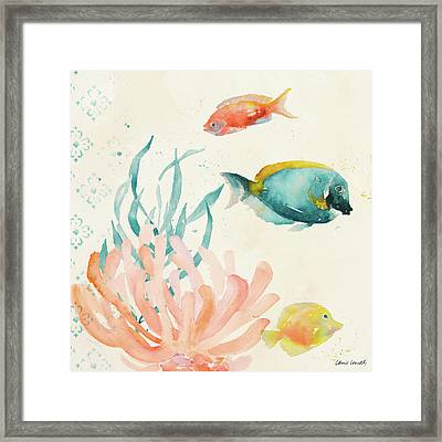 Tropical Teal Coral Medley II Framed Print by Lanie Loreth