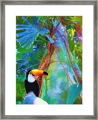 Framed Print featuring the digital art Tropical Toucan by Kathleen Holley
