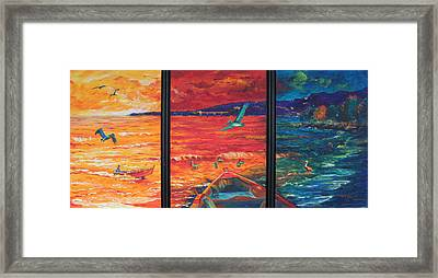 Tropical Trance Triptych Framed Print by Estela Robles Galiano