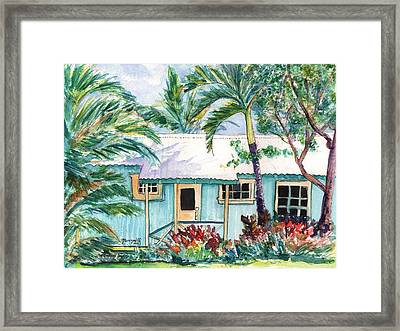 Framed Print featuring the painting Tropical Vacation Cottage by Marionette Taboniar