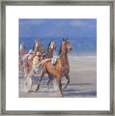 Trotting Races, Lancieux, Brittany, 2014 Oil On Canvas Framed Print by Lincoln Seligman