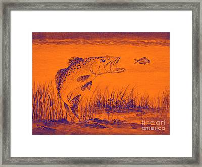 Trout Attack 2 In Orange Framed Print by Bill Holkham