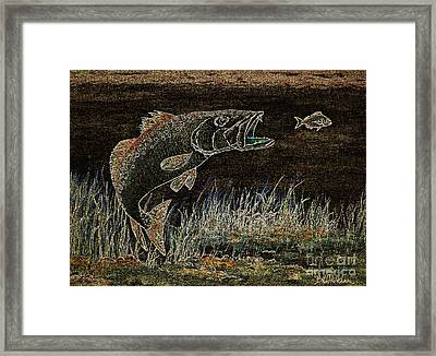Trout Attack 3 In Brown And Gold Framed Print by Bill Holkham