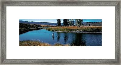 Trout Fisherman Slough Creek Framed Print by Panoramic Images