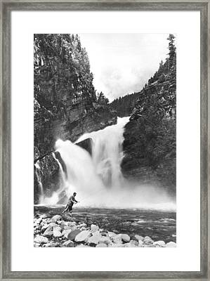 Trout Fishing In Canada Framed Print by Underwood Archives
