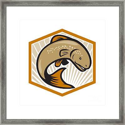 Trout Jumping Cartoon Shield Framed Print by Aloysius Patrimonio