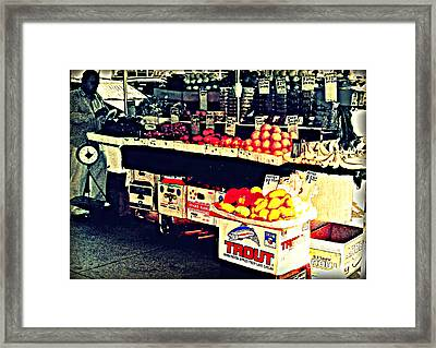 Vintage Outdoor Fruit And Vegetable Stand - Markets Of New York City Framed Print by Miriam Danar