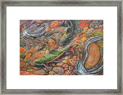 Framed Print featuring the painting Trout Stream by Jenn Cunningham