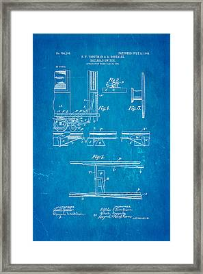 Troutman And Gonzalez Railroad Switch Patent Art 1904 Blueprint Framed Print by Ian Monk