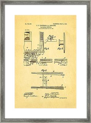 Troutman And Gonzalez Railroad Switch Patent Art 1904 Framed Print by Ian Monk