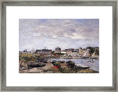 Trouville View Toward Deauville On Market Day Framed Print by Eugene Louis Boudin