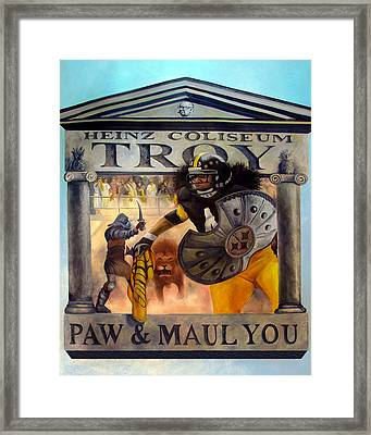 Troy Polamalu Framed Print by Frederick Carrow