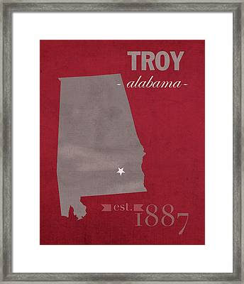 Troy University Trojans Alabama College Town State Map Poster Series No 113 Framed Print