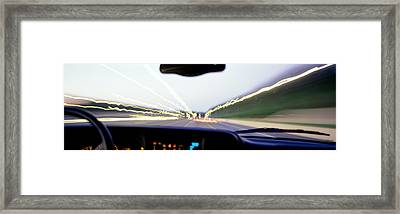 Truck In Motion From Drivers Framed Print by Panoramic Images